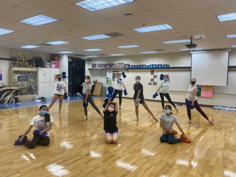 Varsity Song takes practice to the dance room on campus. Photo Credit: Danielle Umbarila and Coach Sierra Ledesma