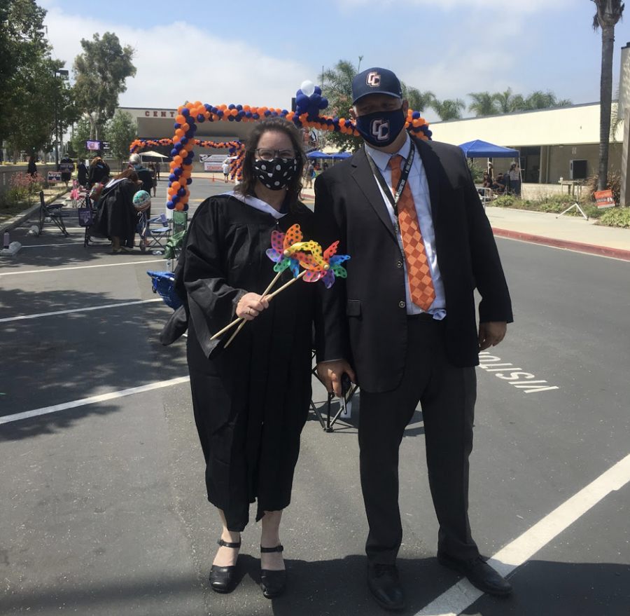 Ms. Takacs and Dr. Hodgson at last year's drive through graduation.