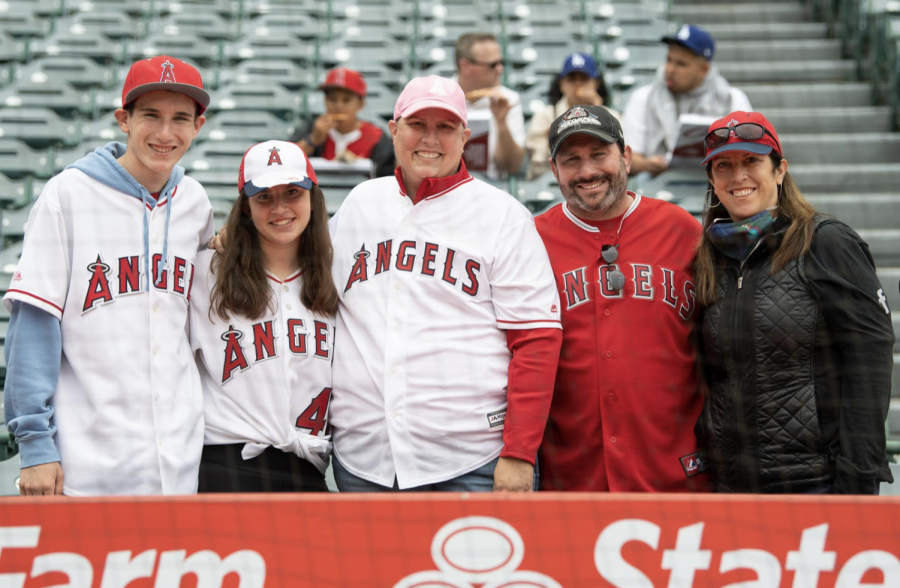 Mrs. Fried with her family on Mothers Day during the Angel game.