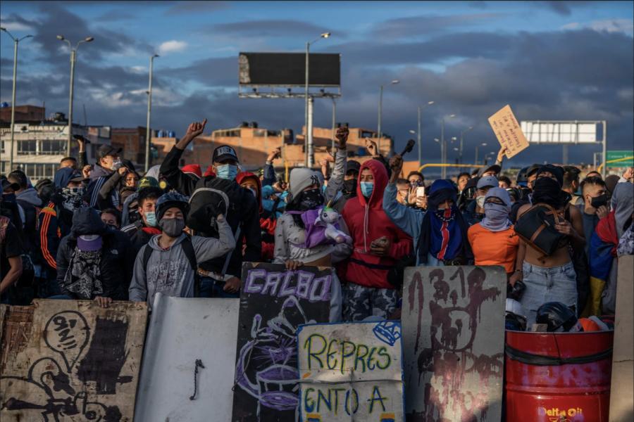 Protestors in Bogota. (photo cred: New York Times)